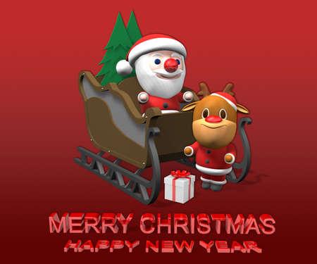 rudolf: santa on the sled with rudolf,3d