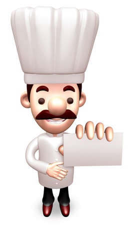 humility: Kindness Chef business cards a present. 3D Chef Character