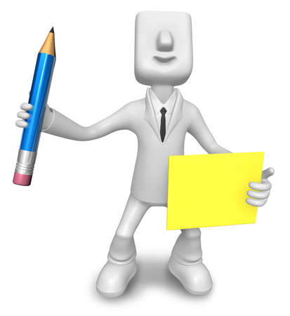 quizzes: Pencil and notes prepared by a business man. 3D Sales Man Character Design