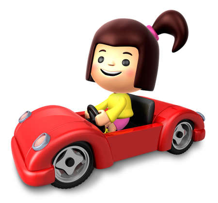pony tail: Red sports car ride girls. 3D Children Character