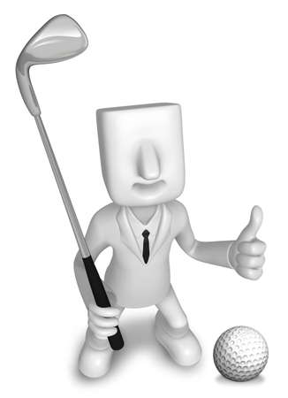 salesmen: Golf Game Promotion Business Man. 3D Salesmen Character Stock Photo