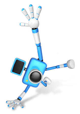 fidelity: Blue Camera Character in Powerful camera to a photo shoot. Create 3D Camera Robot Series.