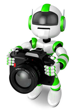 to seize: Green Robot a photographic shoot. 3D Robot Character Design Stock Photo