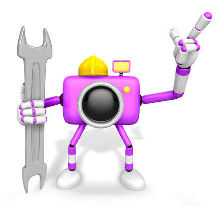 serie: The left hand Holding a Spanner Engineer Purple Camera Character. The right hand point the finger. Create 3D Camera Robot Serie.