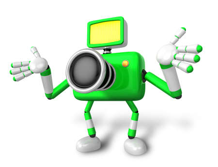 stretched: Nonsense green Camera Character stretched out both hands. Create 3D Camera Robot Series.