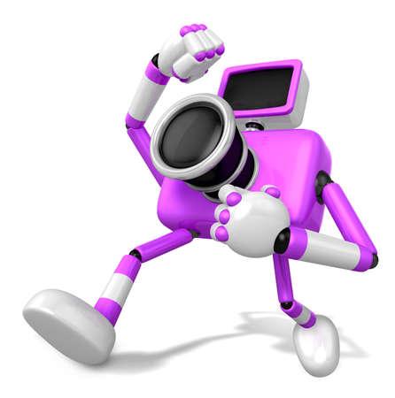 pugilism: A Purple Camera Character and a martial arts. Create 3D Camera Robot Series. Stock Photo