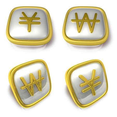 exporter: Yen and Won 3d metalic square Symbol button . 3D Icon Design Series. Stock Photo