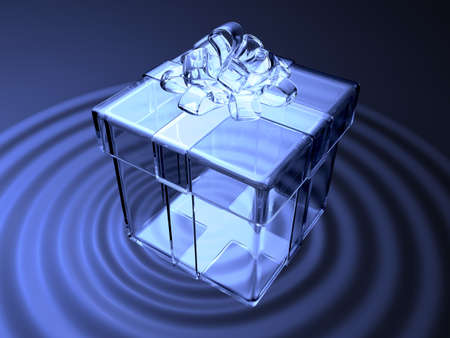 fancy sweet box: 3d blue crystal present box on waving water. Valentine 3D Illustration Design Series. Stock Photo