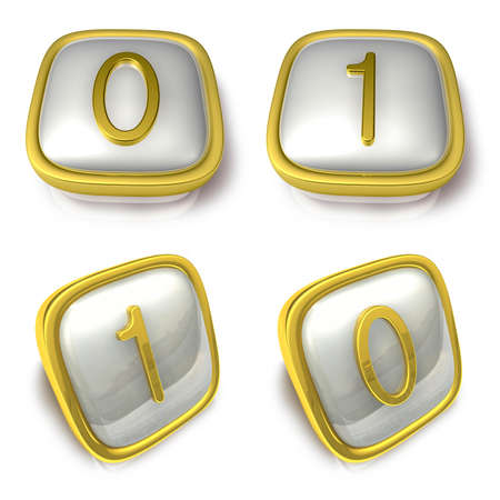 exporter: Zero and One 3d metalic square Symbol button. 3D Icon Design Series.