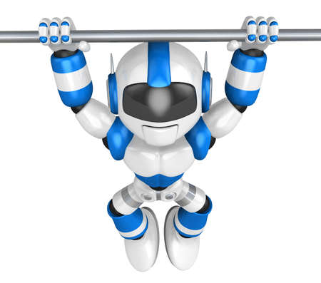 pull up: The pull up to blue robot, A chin up. 3D Robot Character