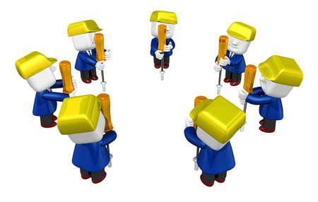 computer repairing: 3d Businessman working. 3D Square Man Series. Stock Photo