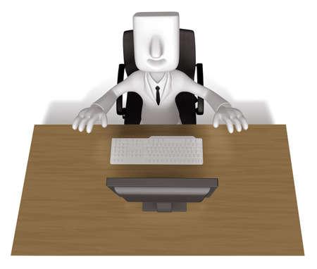 achievement clip art: Business Man sitting at a desk. 3D Business Character