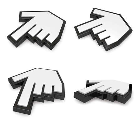 3d cursor: 3D Alignment of  hand cursor icon. 3D Icon Design Series. Stock Photo
