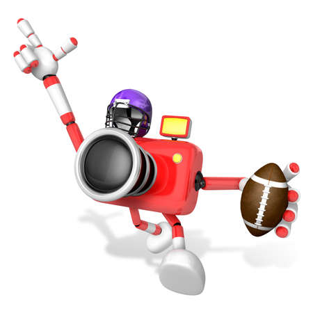 pelota rugby: American football playing red camera Character. Create 3D Camera Robot Series.