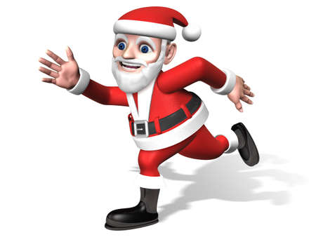 widely: 3d santa moving with waving his arms widely
