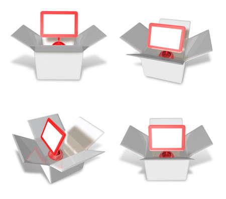 redcap: 3D Monitor icon inside a box. 3D Icon Design Series.