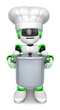 humanoid: Green robot Character is holding a saucepan with both hands. Create 3D Humanoid Robot Series.