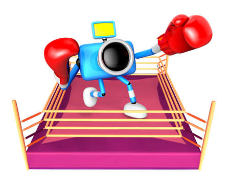 pugilism: A big punch in the ring blowing blue camera Character. Create 3D Camera Robot Series. Stock Photo