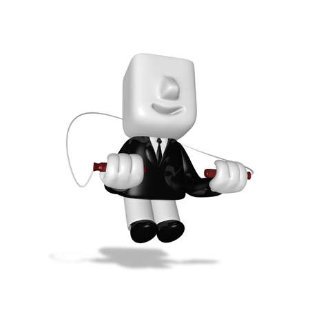 skipping rope: 3d business man exercising with his skipping rope