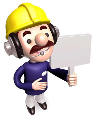 hard sell: Workers in carrying signs. 3D construction works Character Stock Photo