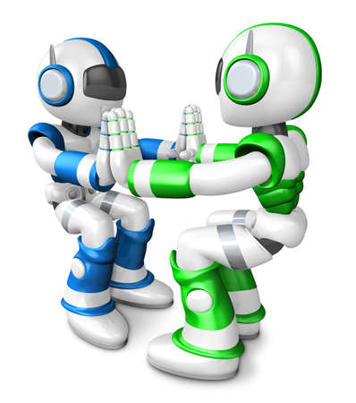 humanoid: Green robots and Blue robots Pushing each other. Create 3D Humanoid Robot Series. Stock Photo