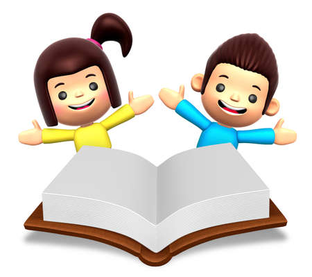 edutainment: A boys and girls in the big book reading. 3D Children Character
