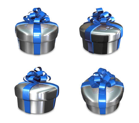 fancy box: 3d decorated anniversary present with blue ribbon Stock Photo