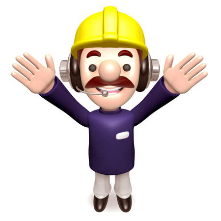 hurray: Hurray! Construction work a member of the staff. 3d construction works Character
