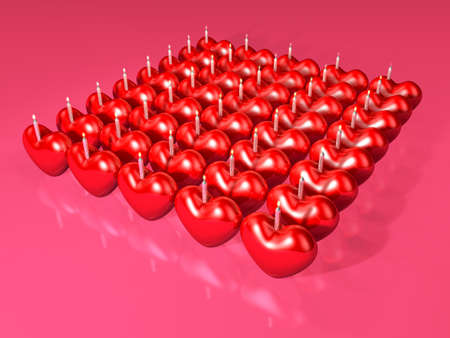 bougie coeur: 3d red heart candle array for anniversary event. Valentine 3D Illustration Design Series. Banque d'images
