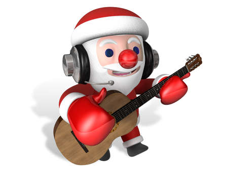 classical guitar: 3d santa playing classical guitar with headphone