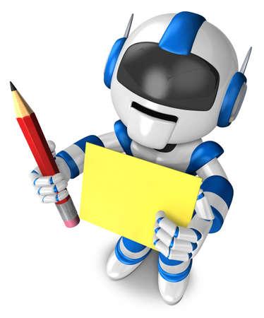 grasp: Blue robot Grasp a pencil and board. 3D Robot Character