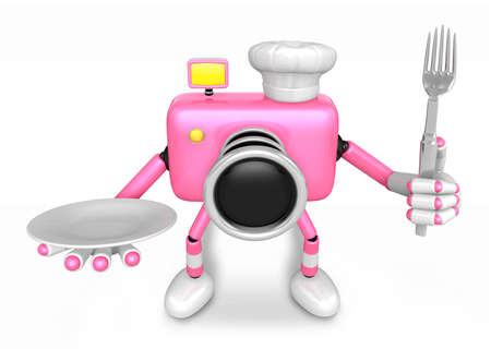plate camera: Chef Pink Camera Character right hand, Plate in the left hand holding a fork. Create 3D Camera Robot Serie.