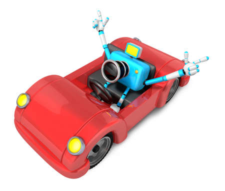 convertible car: Driving a red Convertible car in sky blue camera Character. Create 3D Camera Robot Series. Stock Photo