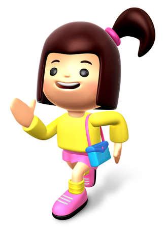 children running: Children running skirt wearing woman. 3D Kids Character Stock Photo