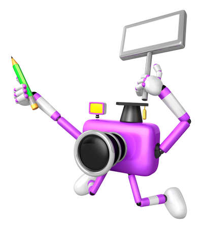 grasp: The left hand Holding the board Teacher Purple Camera Character. The right hand grasp pencil. Create 3D Camera Robot Series.