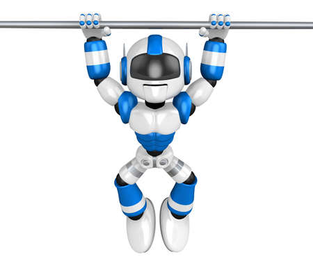 humanoid: Blue robot character is hanging in horizontal bar. Create 3D Humanoid Robot Series. Stock Photo