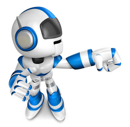 pugilism: Blue robot character Punching to the right. Create 3D Humanoid Robot Series.