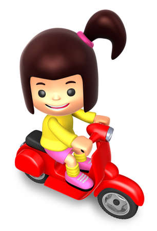 pony tail: Girl riding a motor cycle trip. 3D Kids Character Design