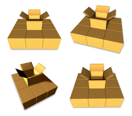 package deliverer: 3D Empty box icon. 3D Icon Design Series.