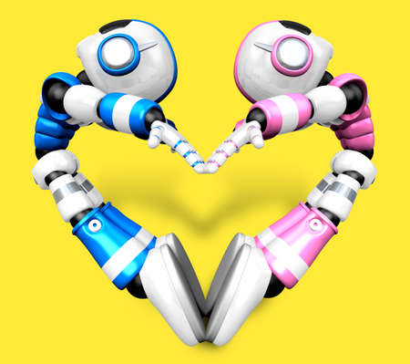 body language: The heart in the form of body language. 3D Robot Character Stock Photo