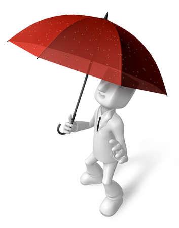 avoid: 3D Men to avoid a red umbrella in rain. 3D Square Man Series.