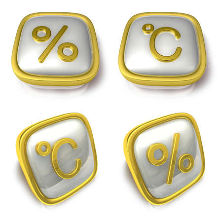 exporter: Percent and Celsius 3d metalic square Symbol button . 3D Icon Design Series.