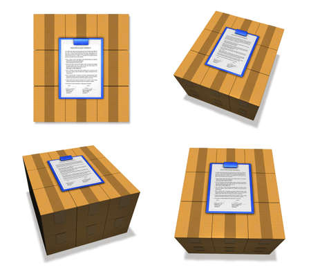 package deliverer: 3D Icon of export documents and boxes. 3D Icon Design Series.