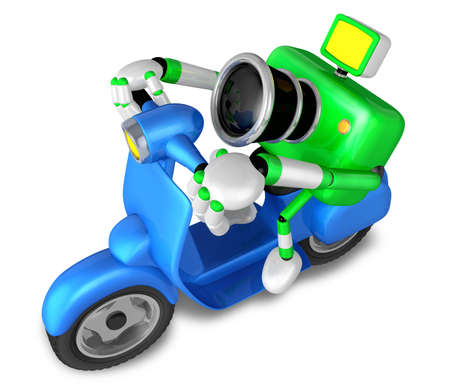 fidelity: Green camera character the left motorbike driving. Create 3D Camera Robot Series. Stock Photo