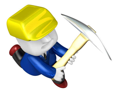 pickaxe: 3d man miner with hardhat and pickaxe on white background. 3D Square Man Series. Stock Photo