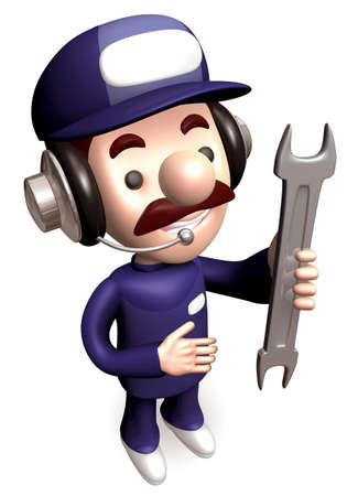 man carrying: A Service Man carrying a spanner. 3D Kids Character Design