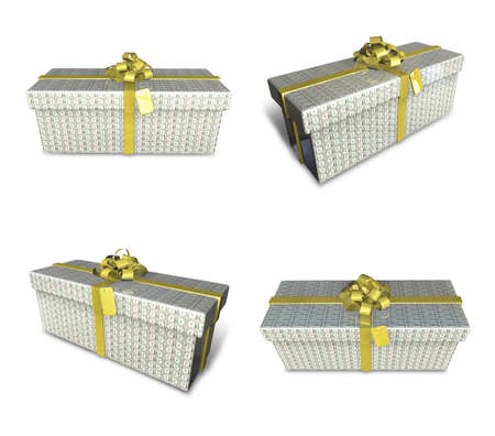 fancy box: 3d decorated anniversary present with gold ribbon