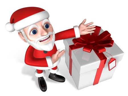 introducing: 3d santa introducing his wrapping gift