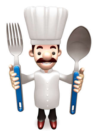 grasp: Chef Grasp a spoon and fork in both hands. 3D Chef Character