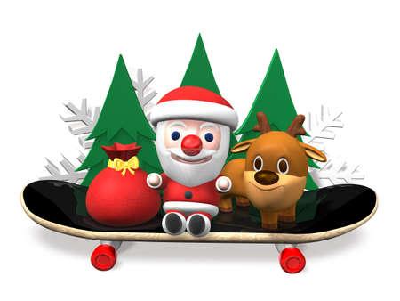 rudolf: skateboarding of santa and rudolf,3d Stock Photo